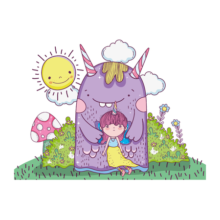 little fairy with monster in the field vector illustration design