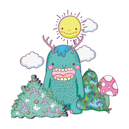 fairytale monster in the landscape vector illustration design