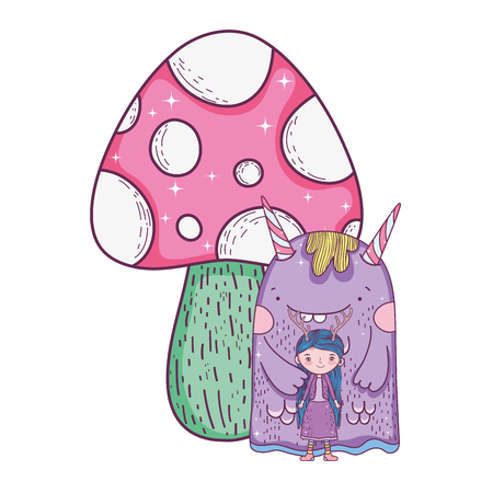 little fairy with monster and fungus vector illustration design