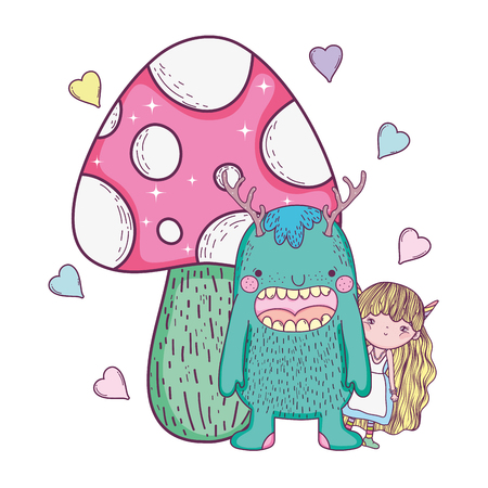fairy and monster with fungus and hearts vector illustration design  イラスト・ベクター素材
