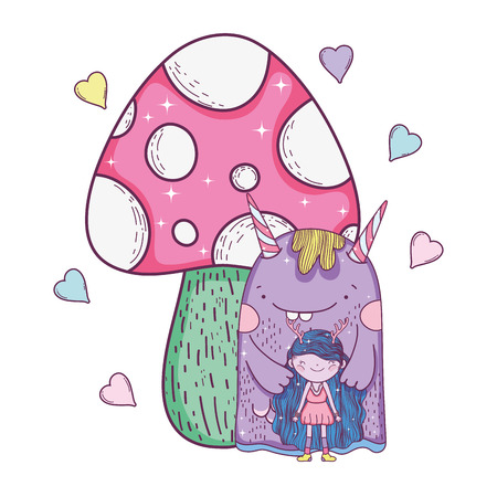 fairy and monster with fungus and hearts vector illustration design Imagens - 127559294