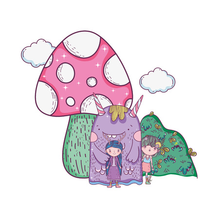 little fairy with monster and fungus vector illustration design 写真素材 - 112337856