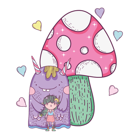 fairy and monster with fungus and hearts vector illustration design Illustration