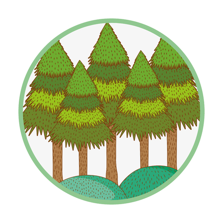 trees rural landscape in round icon vector illustration graphic design