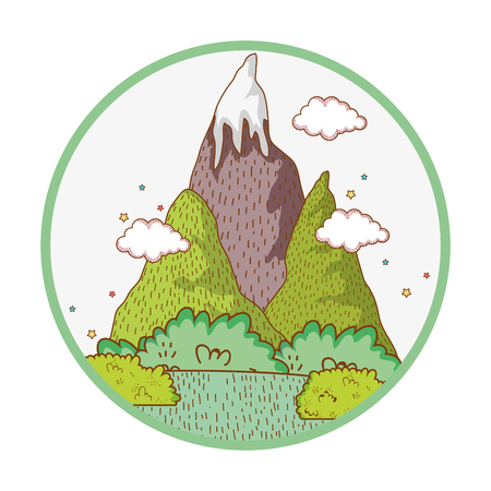 nature landscape with mountains scenery vector illustration graphic design
