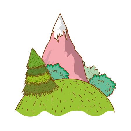 Landscape nature wtih mountain cartoon vector illustration graphic design