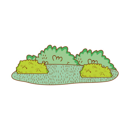 shrubbery rural landscape vector illustration graphic design Vettoriali