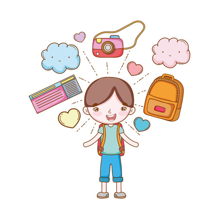 traveler with travel elements boy with camera backpacks tickets in white background vector illustration graphic design