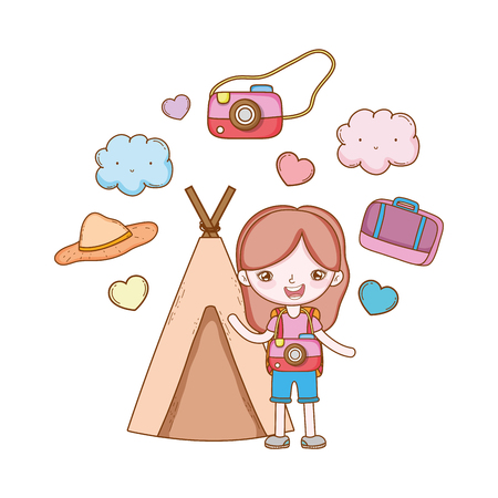 traveler with travel elements girl indian tent camera suitcase hat in white background vector illustration graphic design