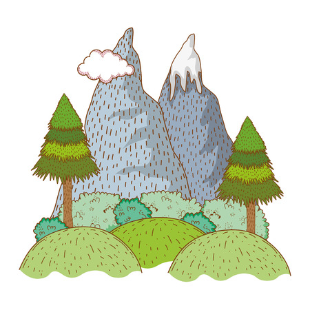 Landscape nature wtih mountain cartoon vector illustration graphic design
