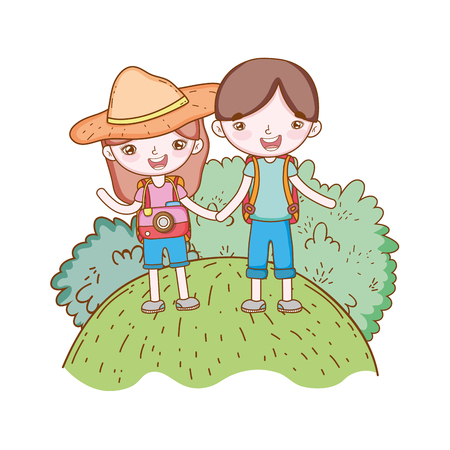 traveler ecological tourism couple with hat camera in rural landscape vector illustration graphic design