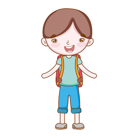 traveler with travel elements boy backpacks full body in white background vector illustration graphic design Vettoriali