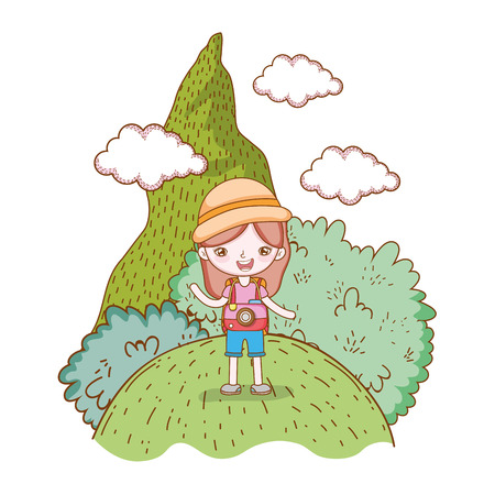 traveler ecological tourism girl with hat camera in mountain landscape vector illustration graphic design