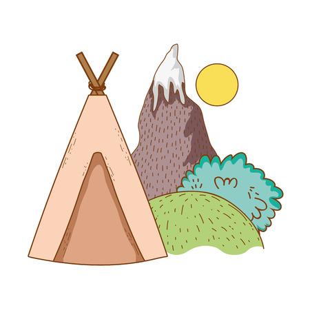 travel tent ecological tourism with indian tent snow mountain shrubbery rural landscape vector illustration graphic design Ilustración de vector