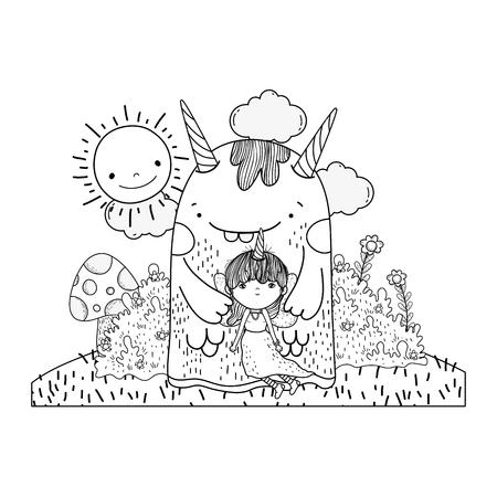little fairy with monster in the field vector illustration design Ilustração