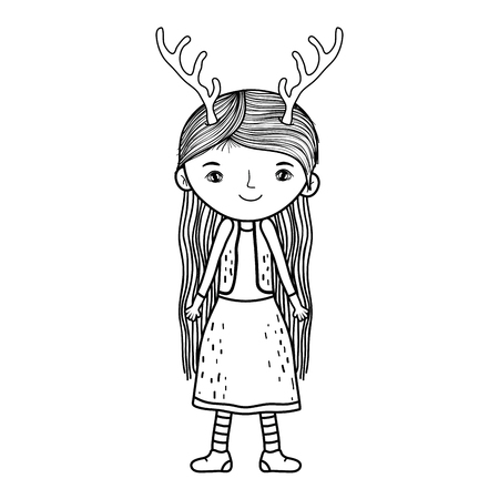 cute little fairy with deer horns character vector illustration design