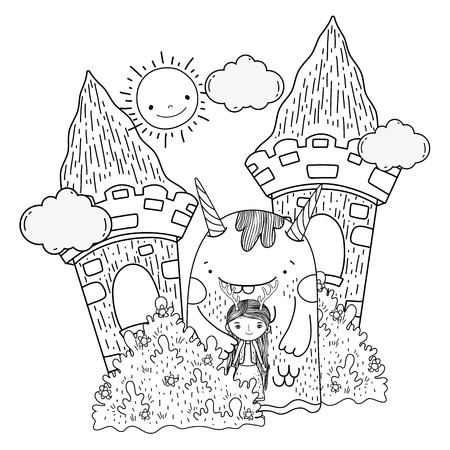 little fairy with monster in the castle vector illustration design  イラスト・ベクター素材