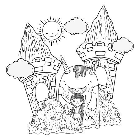 little fairy with monster in the castle vector illustration design Illustration