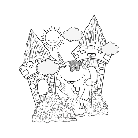 fairytale monster in the castle vector illustration design