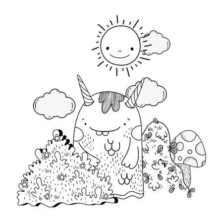 fairytale monster in the landscape vector illustration design