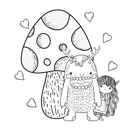 fairy and monster with fungus and hearts vector illustration design