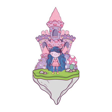 cute little fairy with castle in the camp vector illustration design