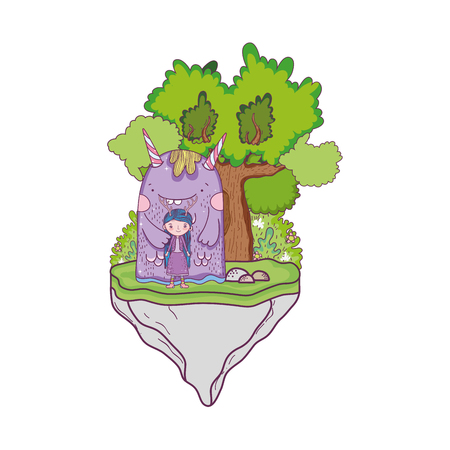 little fairy with monster in the field and tree vector illustration design