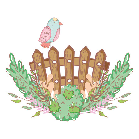 beautiful bird with bush and fence vector illustration design