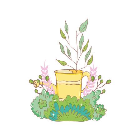 gardener shower sprinkler with leafs vector illustration design