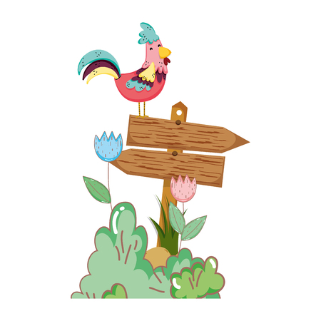 garden with wooden arrow signal and rooster vector illustration design