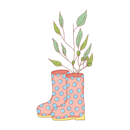 gardener boots rubber with leafs vector illustration design