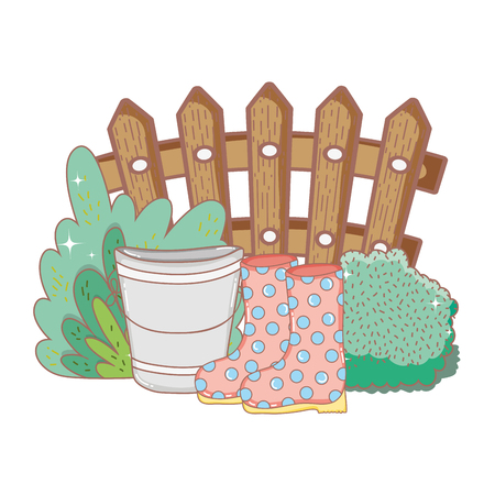 gardener boots rubber with bush and bucket vector illustration design Vector Illustration