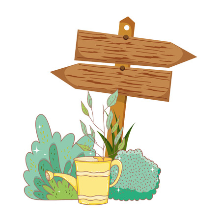 garden with wooden arrow signal vector illustration design