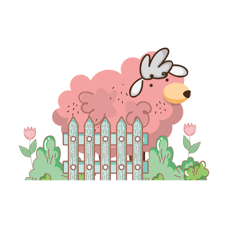 pink sheep farm with garden and fence vector illustration design