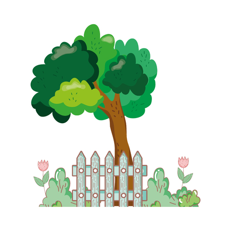 tree plant with fence and bush vector illustration design