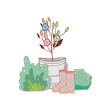 gardener boots rubber with flowers garden vector illustration design  イラスト・ベクター素材