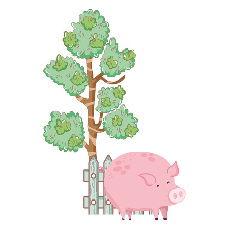 pig animal farm with fence and tree vector illustration design