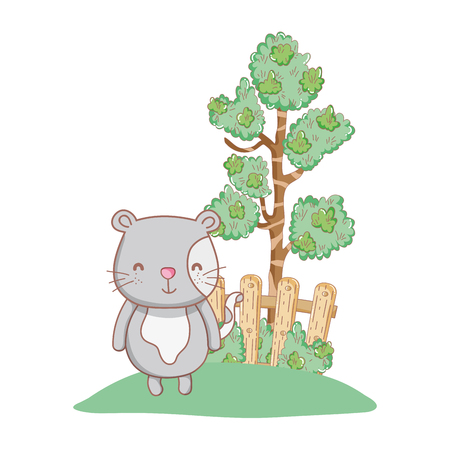 cute cat in the garden vector illustration design