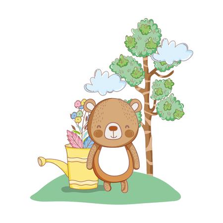 cute little bear in the garden vector illustration design