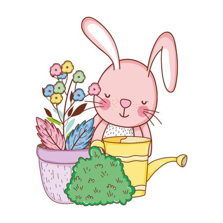 little rabbit in the garden vector illustration design
