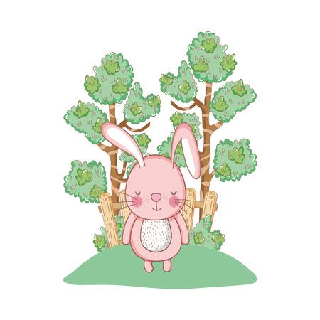 little rabbit in the garden vector illustration design Archivio Fotografico - 127559750