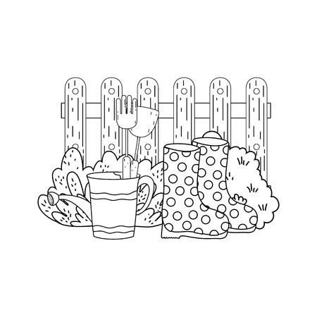 gardener shower sprinkler with boots vector illustration design Illustration