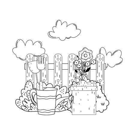 gardener shower sprinkler with leafs and flowers vector illustration Ilustrace