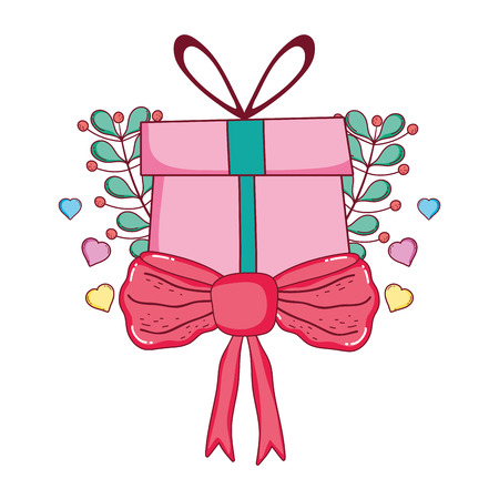 christmas gift with wreath and ribbon vector illustration design