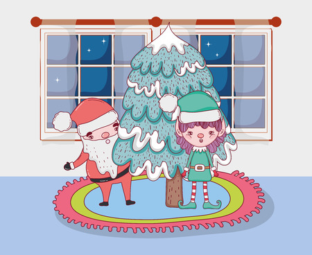 santa claus with pine tree in the house vector illustration design