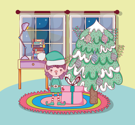 cute santa helper with pine tree in the house vector illustration design