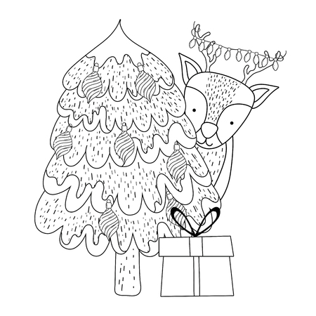 merry christmas tree with reindeer vector illustration design