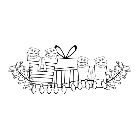 christmas gifts boxes with wreath vector illustration design 일러스트