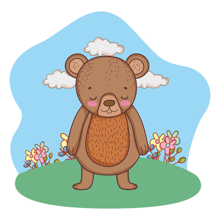 cute little bear in the camp vector illustration design