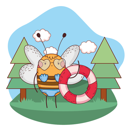 little bee with swimsuit and float in the camp vector illustration design Ilustrace